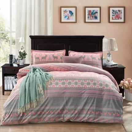 小时代家纺 水晶绒+5D雕花绒四件套圣诞鹿-粉色