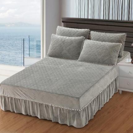 小时代家纺 水晶绒夹棉单品床裙时尚芭莎-灰色