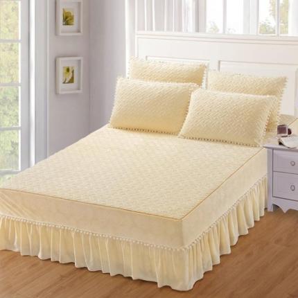 小时代家纺 水晶绒夹棉单品床裙时尚芭莎-米色