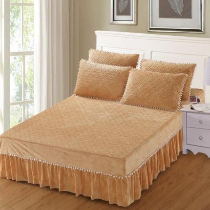 小时代家纺 水晶绒夹棉单品床裙时尚芭莎-驼色