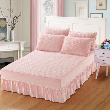 小时代家纺 水晶绒夹棉单品床裙时尚芭莎-玉色