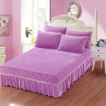 小时代家纺 水晶绒夹棉单品床裙时尚芭莎-紫色