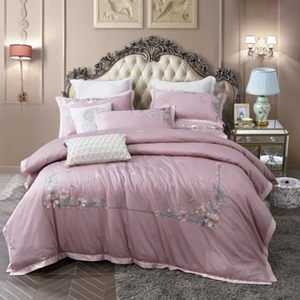 (总)小时代 100支澳棉重工艺刺绣欧式花纹四件套床裙款