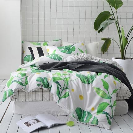 原研家居 40s全棉喷气13070绿色系套件床单款罗芙拉