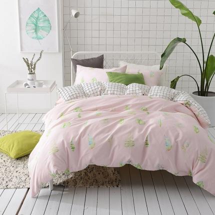 (总)原研家居 40s全棉喷气13070绿色系套件床单款