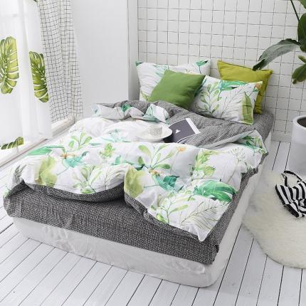 原研家居 40s全棉喷气13070绿色系套件床单款索玛