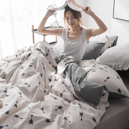 原研家居 2018水洗针织双拼良品系列四件套床单款箭头