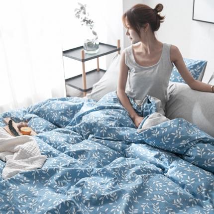 原研家居 2018水洗针织双拼良品系列四件套床单款绿叶
