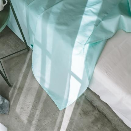 原研家居2018新款60S长绒棉素色单品床单tiffany蓝