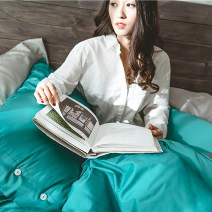 原研家2018新款60S长绒棉素色双拼四件套模特图双拼松绿灰