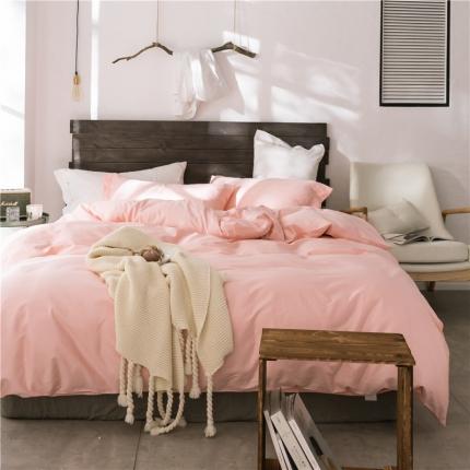 原研家居 2018新款60S长绒棉素色四件套粉色