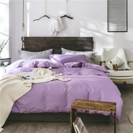 原研家居 2018新款60S长绒棉素色四件套紫色