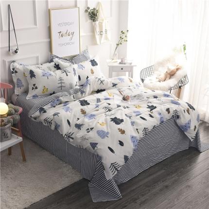 棉立方家纺 新款系列小清新全棉床单四件套月光森林