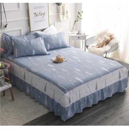 棉立方家纺 新款全棉单床裙浪漫树下蓝