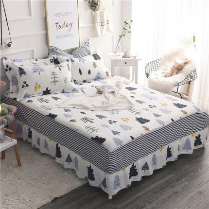 棉立方家纺 新款全棉单床裙月光森林