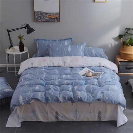 棉立方家纺 新款系列小清新全棉床单四件套浪漫树下