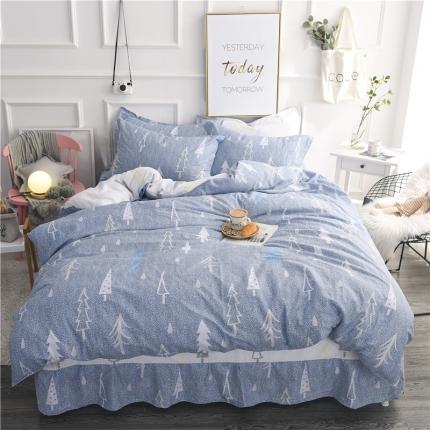 棉立方家纺 新款系列小清新全棉床裙四件套 浪漫树下蓝