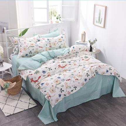 棉立方家纺 新款系列小清新全棉床单四件套 艾夏