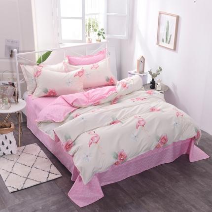 棉立方家纺 新款系列小清新全棉床单四件套 火烈鸟-米白