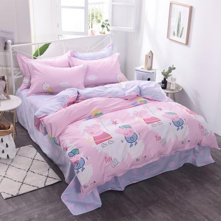 棉立方家纺 新款系列小清新全棉床单四件套 小猪粉