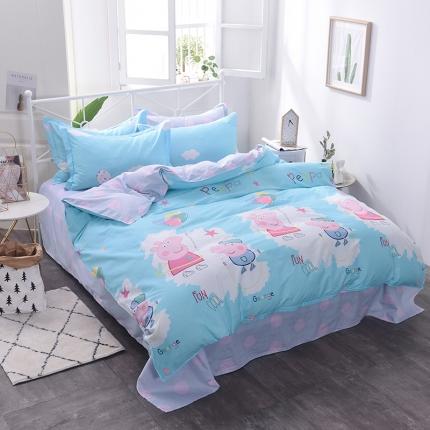 棉立方家纺 新款系列小清新全棉床单四件套 小猪兰