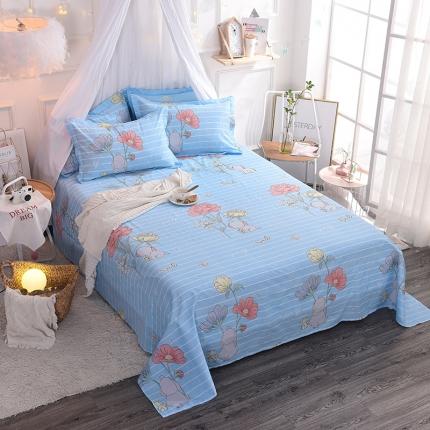 棉立方家纺 新款全棉单床单 萌小象蓝