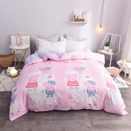 棉立方家纺 新款系列全棉床单四件套 小猪粉