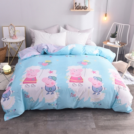 棉立方家纺 新款系列全棉床单四件套  小猪兰