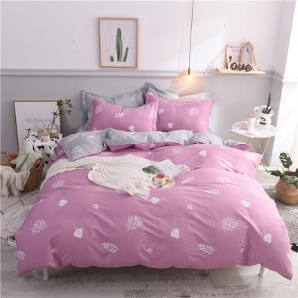 棉立方家纺 新款系列全棉床笠四件套 米罗粉