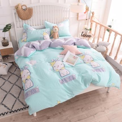 棉立方家纺 新款系列小清新全棉床单四件套 爱卖萌绿