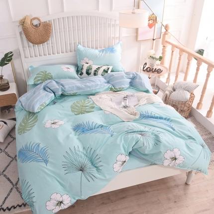 棉立方家纺 新款系列小清新全棉床单四件套 半夏绿
