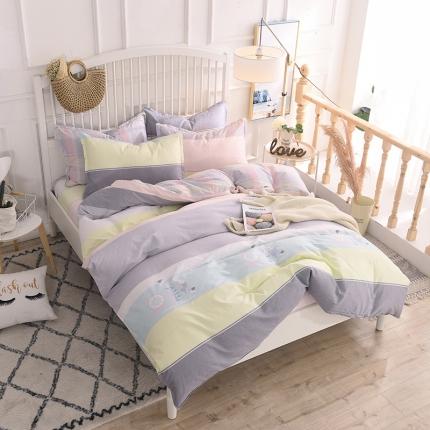 棉立方家纺 新款系列小清新全棉床单四件套 卡罗时光