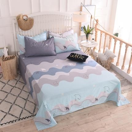 棉立方家纺 新款全棉单品床单系列单床单 玩味时尚绿