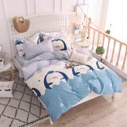 棉立方家纺 新款系列小清新全棉床单四件套 快乐企鹅