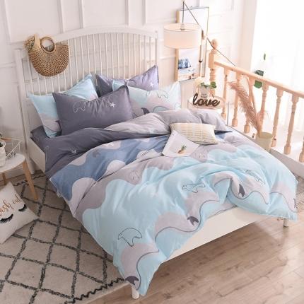 棉立方家纺 新款系列小清新全棉床单四件套 玩味时尚绿