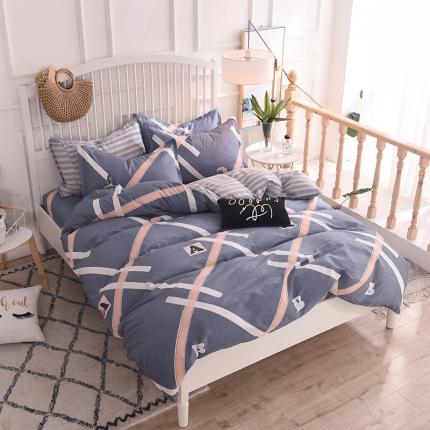 棉立方家纺 新款系列小清新全棉床单四件套 雅阁风尚