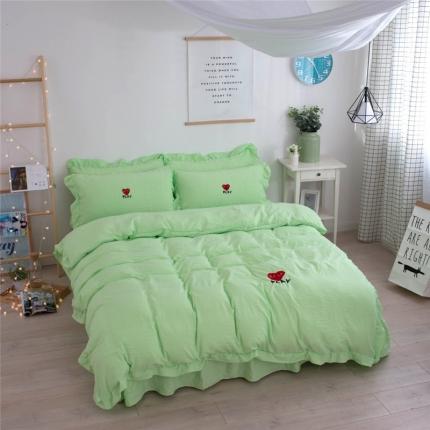 简爱家纺 2017年韩版绣花水洗棉四件套 猫眼-绿色
