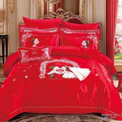 他她之恋 60贡缎提花十件套 婚礼进行曲红色