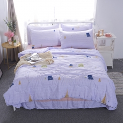 梦可莱家纺 ins球球款夏被四件套(送包装)麋鹿-紫
