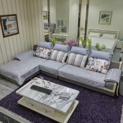 豹子垫业 2019新款富贵棉小白边沙发垫 富贵棉-灰色星星