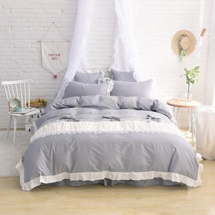 锦色家纺 全棉套件床裙款甜美系列甜美灰色