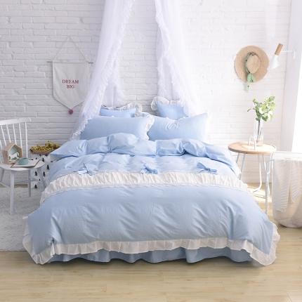 锦色家纺 全棉套件床裙款甜美系列甜美蓝色