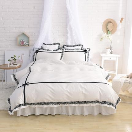 锦色家纺 全棉套件床裙款婉约系列 婉约白色