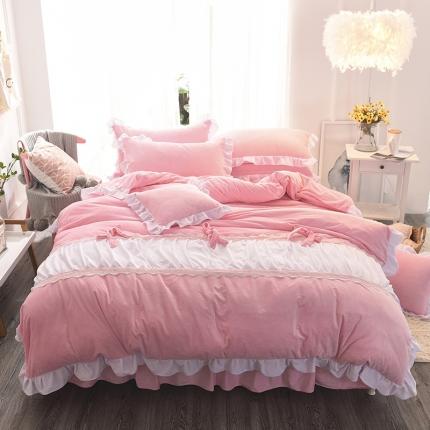 (总)锦色家纺 水晶绒四件套床裙款甜美系列