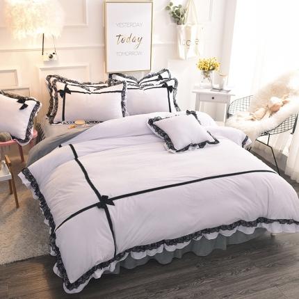 (总)锦色家纺 水晶绒四件套床裙款婉约系列