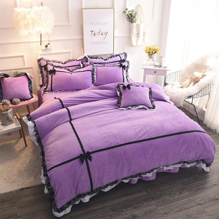 锦色家纺 水晶绒四件套床裙款婉约系列紫色