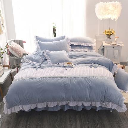 锦色家纺 水晶绒四件套床裙款甜美系列蓝色