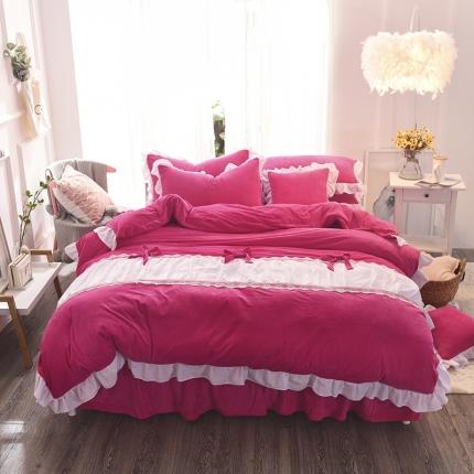 锦色家纺 水晶绒四件套床裙款甜美系列玫红