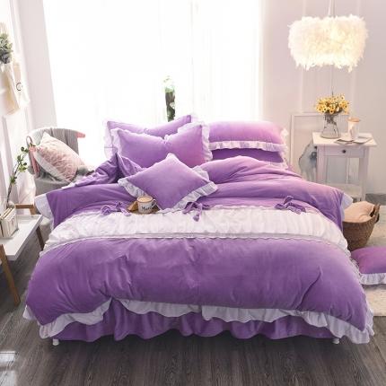 锦色家纺 水晶绒四件套床裙款甜美系列紫色