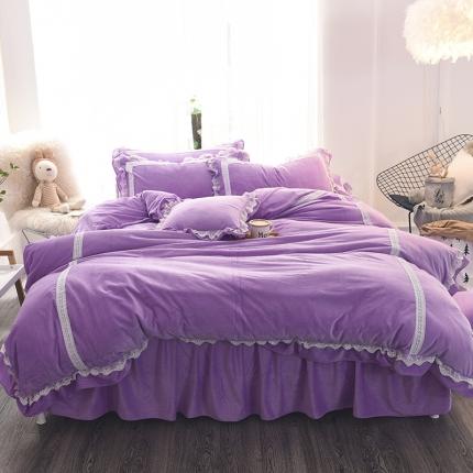 锦色家纺 水晶绒四件套床裙款遇见系列遇见紫色